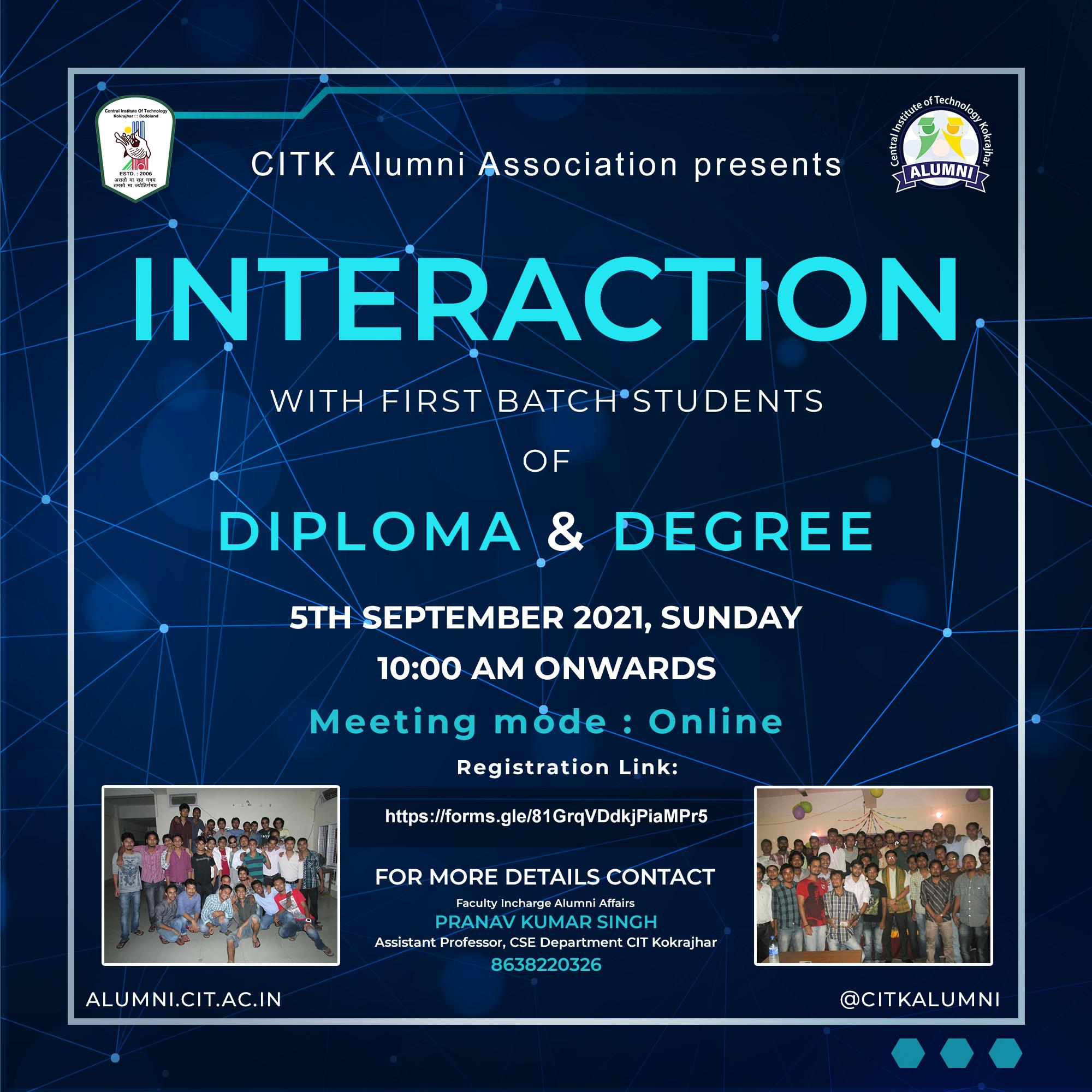 Online Interaction Programme with First Batch Students of Degree and Diploma